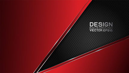 Vector design trendy and technology concept. Fame border dimension by carbon fiber texture shiny red and copy space on darkness background, Abstract technology template.