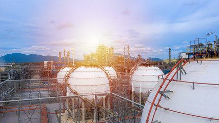 Industrial tanks or spherical tanks for petrochemical plant, oil and gas fuel  in refinery, Natural gas tank in the petrochemical industry Wall mural