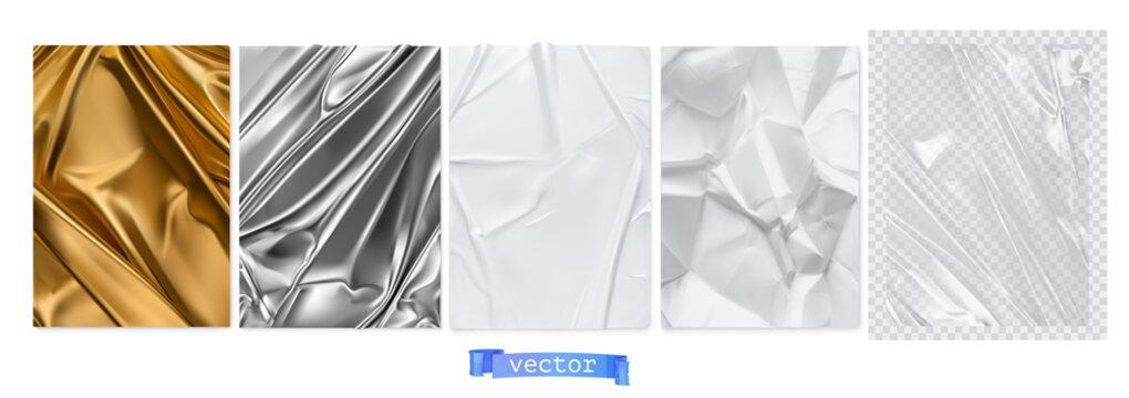 Gold fabric, silver foil, white paper, transparent plastic film. 3d realistic textures, vector set