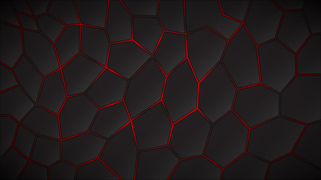 Abstract dark background of polygons in red colors