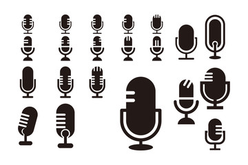 silhouette podcast logo icon vector isolated