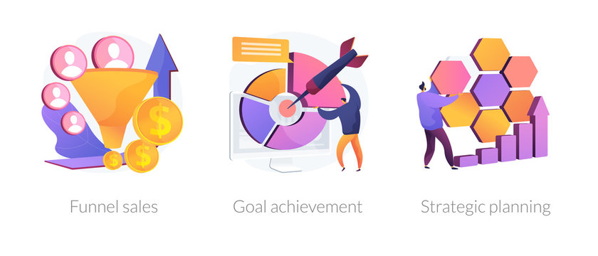 Marketing business icons set. Customer conversion model, success strategy development. Funnel sales, goal achievement, strategic planning metaphors. Vector isolated concept metaphor illustrations