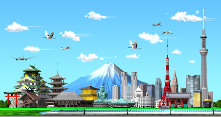kground by 3d rendering Japanese illustration of blue sky in 3d render