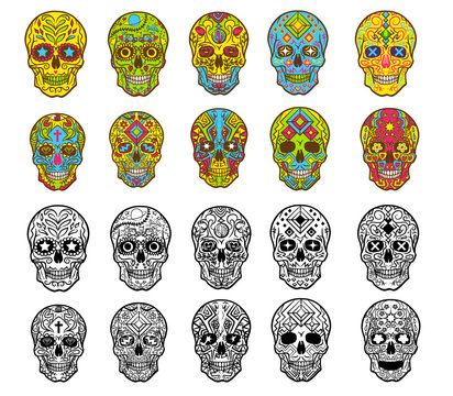 sugar skull vector set clipart design