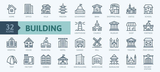 Building minimal thin line web icon set. Outline icons collection. Simple vector illustration. Fotomurales