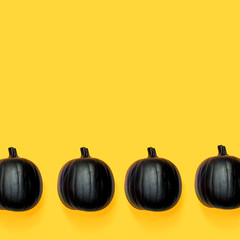 Black colored pumpkins on a bright yellow background