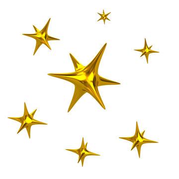 Golden Sparkle Lights Stars 3d Illustration on white background