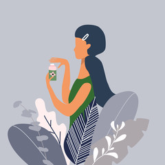 A young pretty woman or girl with hairpin and cream in a big plants. Design concept for beauty, poster for cosmetics, beauty salon and spa. Vector illustration