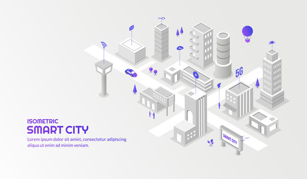 Modern technology sevice with the connected smart city background