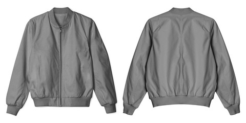 Set of blank jacket bomber gey color in front and back view isolated on white background