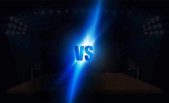 Basketball arena field with bright stadium lights design.