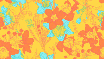 Floral seamless pattern, daffodil, sakura and leaves in orange and blue line art ink drawing on yellow