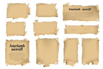 Antique banners on different topics for decoration and design.
