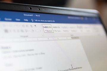 Bangkok, Thailand - August 22, 2019 : Microsoft Word, a word processor developed by Microsoft, on computer screen.