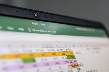 Bangkok, Thailand - July 21, 2019 : Microsoft Excel, a spreadsheet developed by Microsoft, on computer screen.