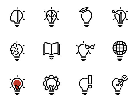 Set of black vector icons, isolated against white background. Illustration on a theme Creative light source, warning, tuning and using smart bulbs
