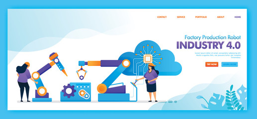 Landing page vector design of factory production robot industry 4.0 . Easy to edit and customize. Modern flat design concept of web page, website, homepage, mobile apps. character cartoon flat style.