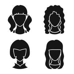 Vector illustration of character and profile logo. Collection of character and dummy vector icon for stock.