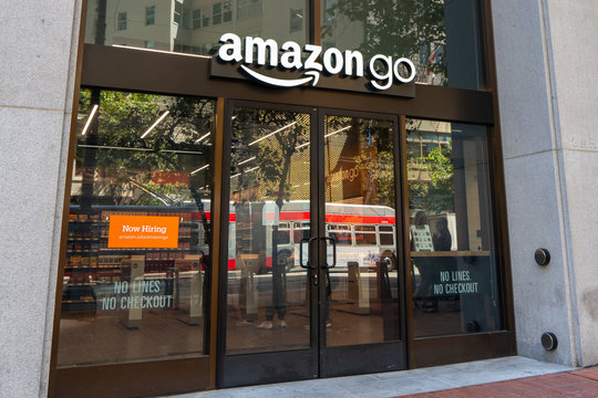August 21, 2019 San Francisco / CA / USA - Amazon Go store entrance; downtown San Francisco; Amazon Go is a chain of cashless convenience stores with a partly automated checkout, operated by Amazon