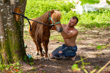 man with a naked torso washes horse pony