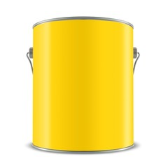 3d yellow tub, paint bucket container with metal handle, 3d illustration