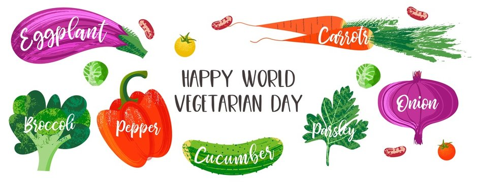 Happy world vegetarian day. Vector illustration with hand drawn unique textures.