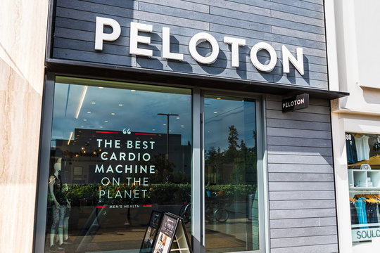 August 28, 2019 Palo Alto / CA / USA - Peloton store in Stanford Shopping Center; Peloton is an American exercise equipment and media company whose main product is a luxury stationary bicycle