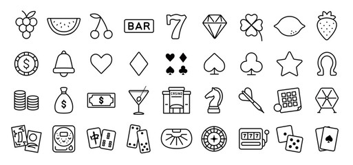 Casino and Gambling Icon Set (Thin Line Version)