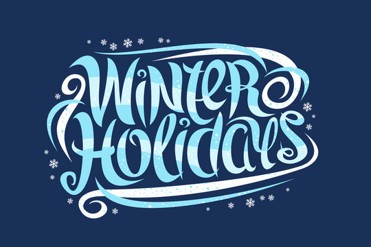 Vector greeting card for Winter Holidays, curly calligraphic typeface with white snowflakes and decorative elements, banner with swirly trendy lettering for words winter holidays on blue background.