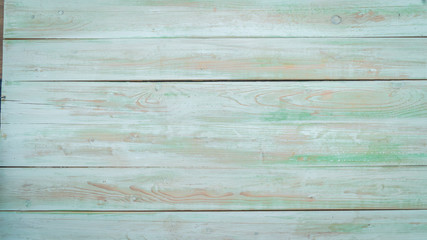 vintage beach wood background - old green color wooden plank