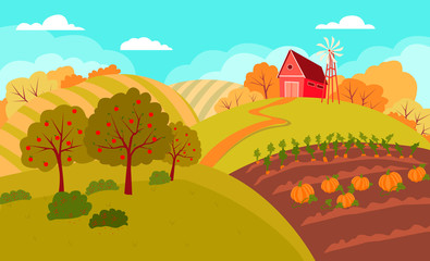 Autumn rural landscape with rolling hills and fields. Field farmland countryside