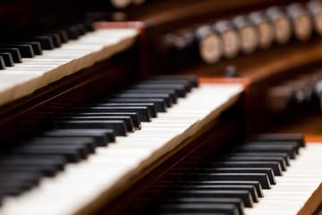 Church organ keyboard in dark colors