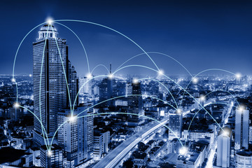 Network Telecommunication and Communication Connect Concept, Connection 5G Networking System of Infrastructure and Cityscape at Night Scenery. Technology Digital Connectivity and Information Transfer Wall mural
