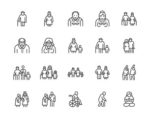Elder people care flat line icons set. Senior couple, nursing home, happy old man exercising, patient support vector illustrations. Outline signs older citizens. Pixel perfect 64x64. Editable Strokes