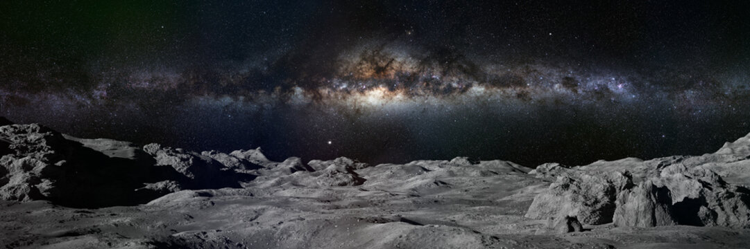 Moon surface, lunar landscape with Milky Way over the horizon