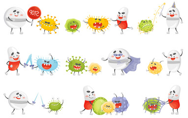 Set of humanized pills and germs. Vector illustration.