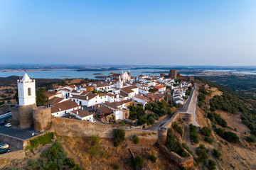 Aerial view of the beutiful historical village of Monsaraz, in Alentejo, Portugal; Concept for travel in Portugal
