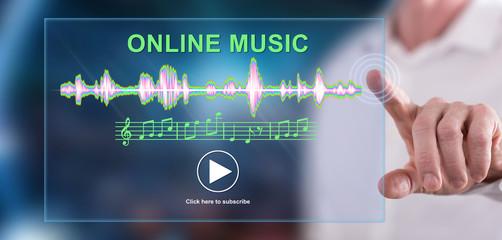 Man touching an online music concept