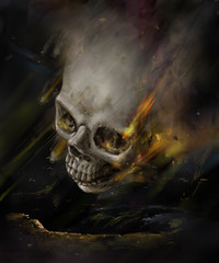 Creepy human skull for horror, Halloween or death themed concepts. illustration painting of digital art style