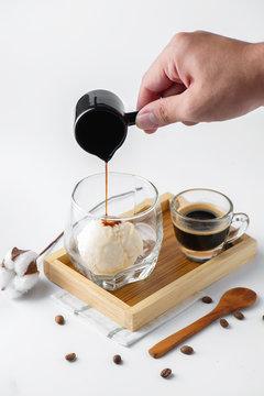 Affogato coffee on white background .
