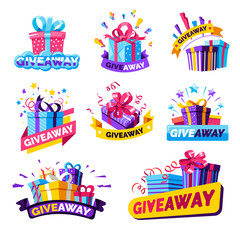 Giveaway isolated icons, social media contest prizes