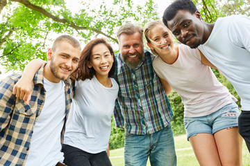 Happy multicultural group of young people