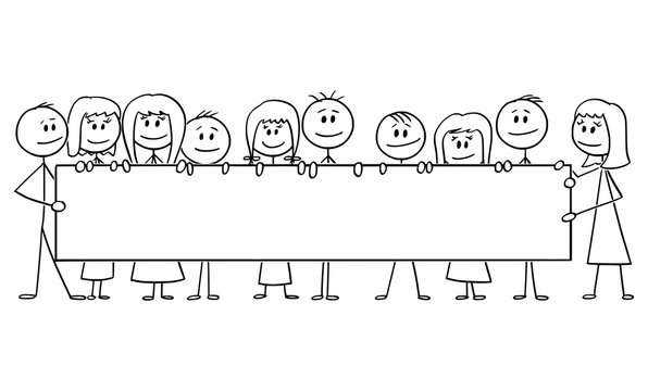 Vector cartoon stick figure drawing conceptual illustration of group of smiling kids or children, boys and girls holding together big empty horizontal sign.