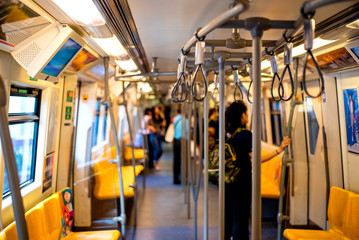 Corridors and cabins within the bts sky train to travel in Bangkok Thailand 13 Aug 2019
