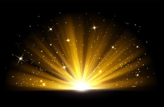 Light effect. Vector shining golden bright light. Gold shine burst with sparkles illustration isolated on black background. Light effect glow, bright gold shine