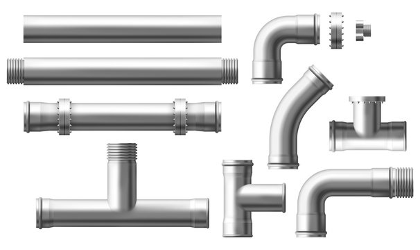 Stainless steel, metallic pipes, plumbing fittings. Water, fuel or gas supply system, oil refinery industry pipeline, house sewer bolted sections, parts isolated, 3d realistic vector illustration set