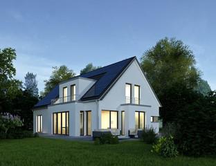 Haus 2 modern am Abend