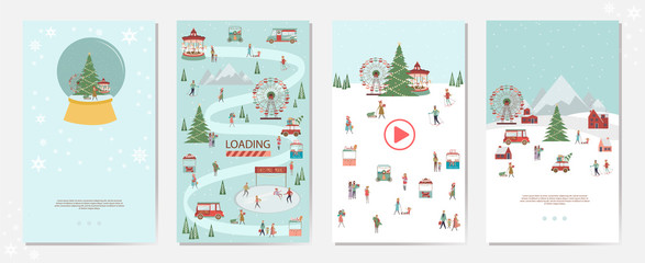 Set of Mobile App Page with Christmas Market landscape, houses in the Scandinavian style and people walking, snowboarding, sledding, ice skating, skiing. Editable vector illustration.