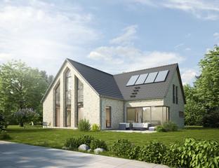 Modernes Haus mit hellem Mauerwerk