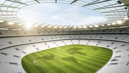 Wall Mural - Stadion leer mit Weltkarte
